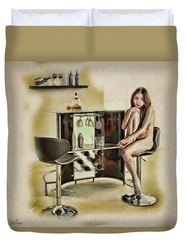 Salome Duvet Cover featuring the painting Chicago - Asian American Series by Salome Hooper