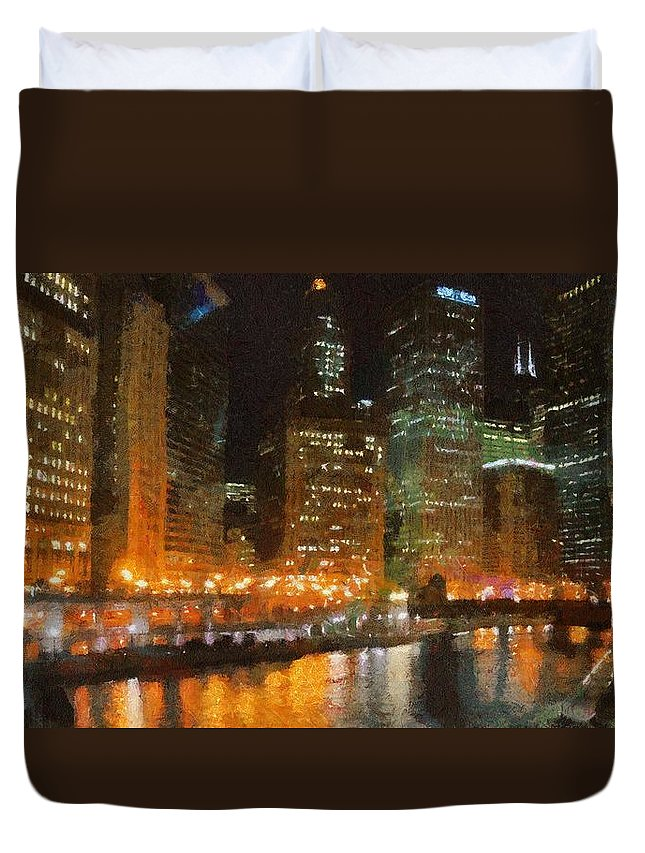 Chicago Duvet Cover featuring the painting Chicago At Night by Jeffrey Kolker