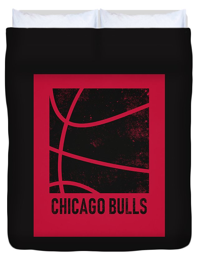 Bulls Duvet Cover featuring the mixed media Chicago Bulls City Poster Art 2 by Joe Hamilton