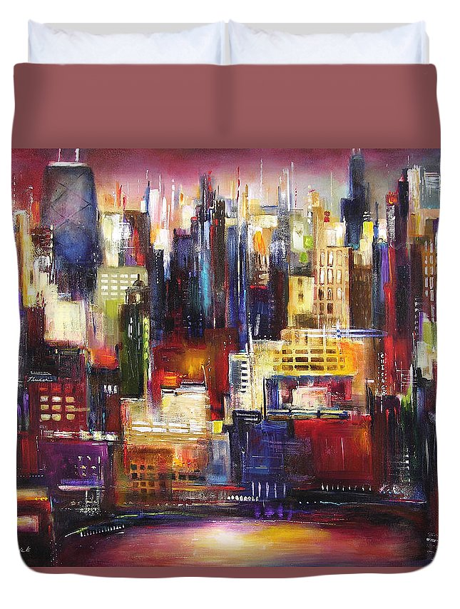 Chicago Art Duvet Cover featuring the painting Chicago City View by Kathleen Patrick