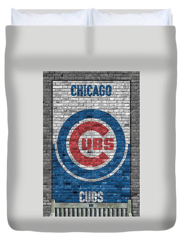 Cubs Duvet Cover featuring the painting Chicago Cubs Brick Wall by Joe Hamilton