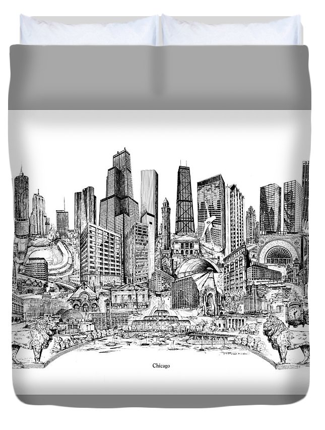 City Drawing Duvet Cover featuring the drawing Chicago by Dennis Bivens
