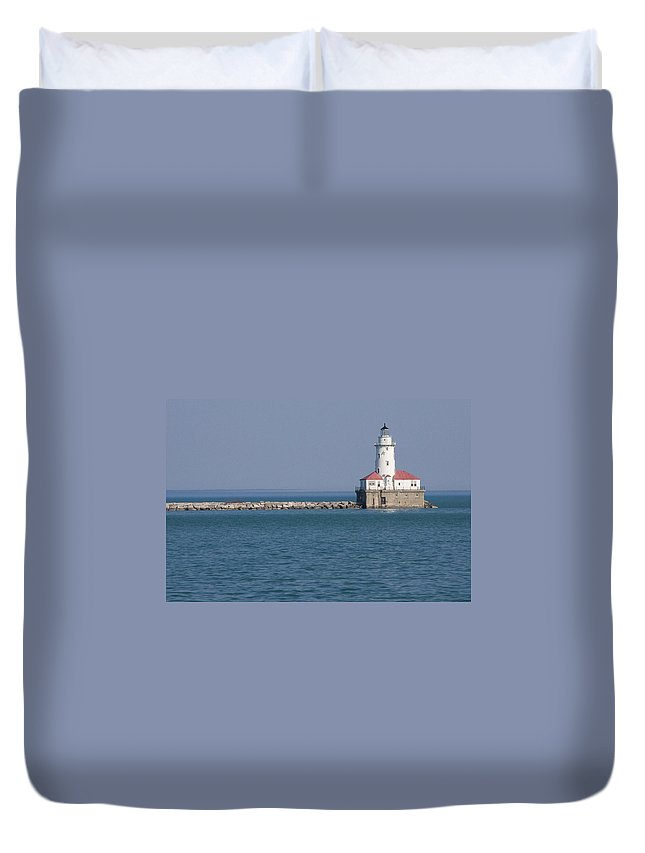 Chicago Windy City Lighthouse Light Harbor Lake Michigan Water Blue Sky Red Roof Safe Guide Duvet Cover featuring the photograph Chicago Harbor Lighthouse by Andrei Shliakhau
