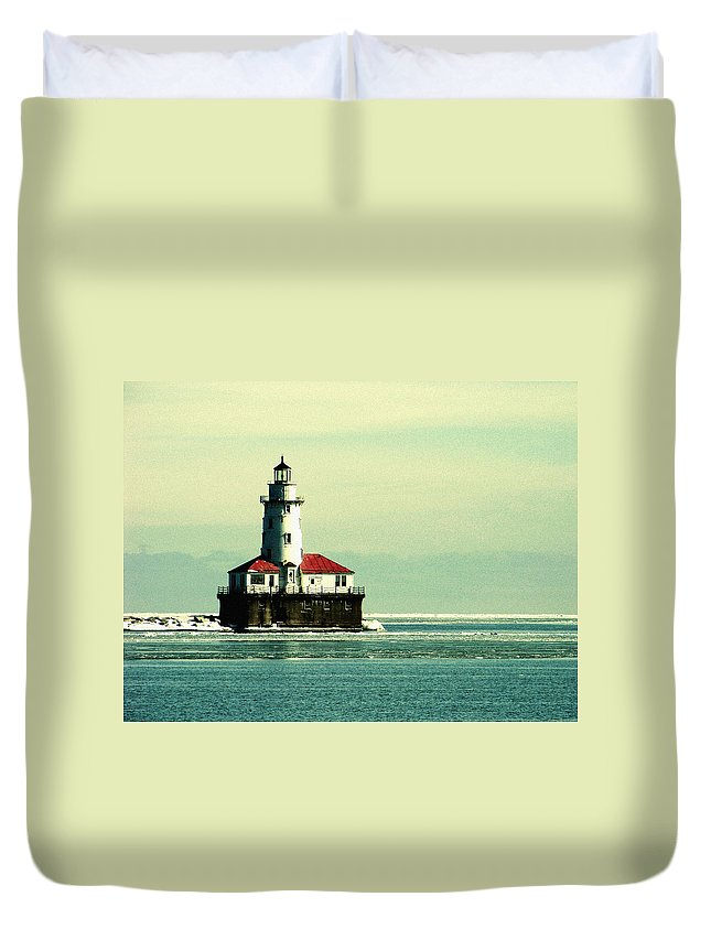 Harbor Lighthouse Duvet Cover featuring the photograph Chicago Harbor Lighthouse by Kyle Hanson