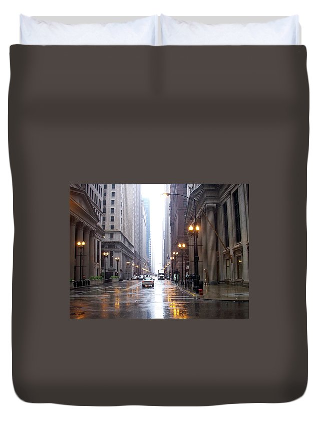 Chicago Duvet Cover featuring the photograph Chicago In The Rain by Anita Burgermeister