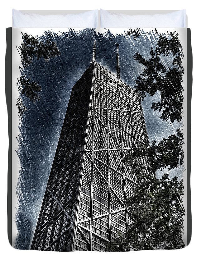 Chicago Duvet Cover featuring the photograph Chicago John Hancock In June Pa 01 by Thomas Woolworth