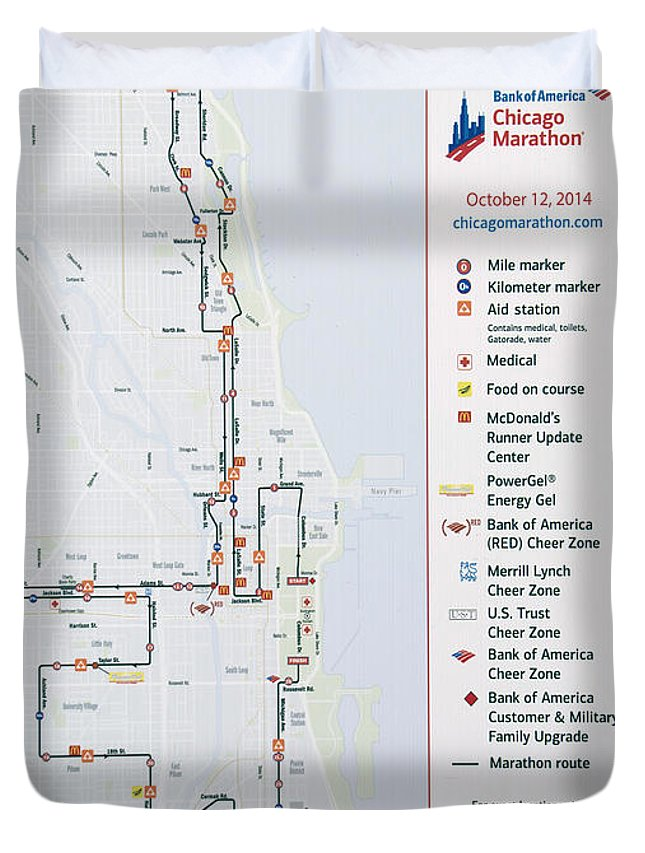 Chicago Marathon Duvet Cover featuring the photograph Chicago Marathon Race Day Route Map 2014 by Thomas Woolworth