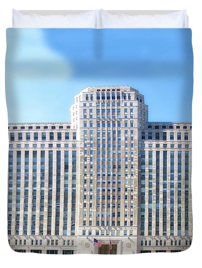 Cities Duvet Cover featuring the photograph Chicago Merchandise Mart South Facade by Thomas Woolworth