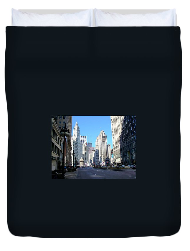 Chicago Duvet Cover featuring the photograph Chicago Miracle Mile by Anita Burgermeister