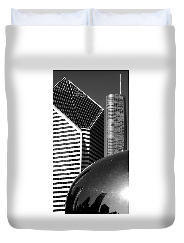 Black And White. Chicago Duvet Cover featuring the photograph Chicago Mirage by Karen King