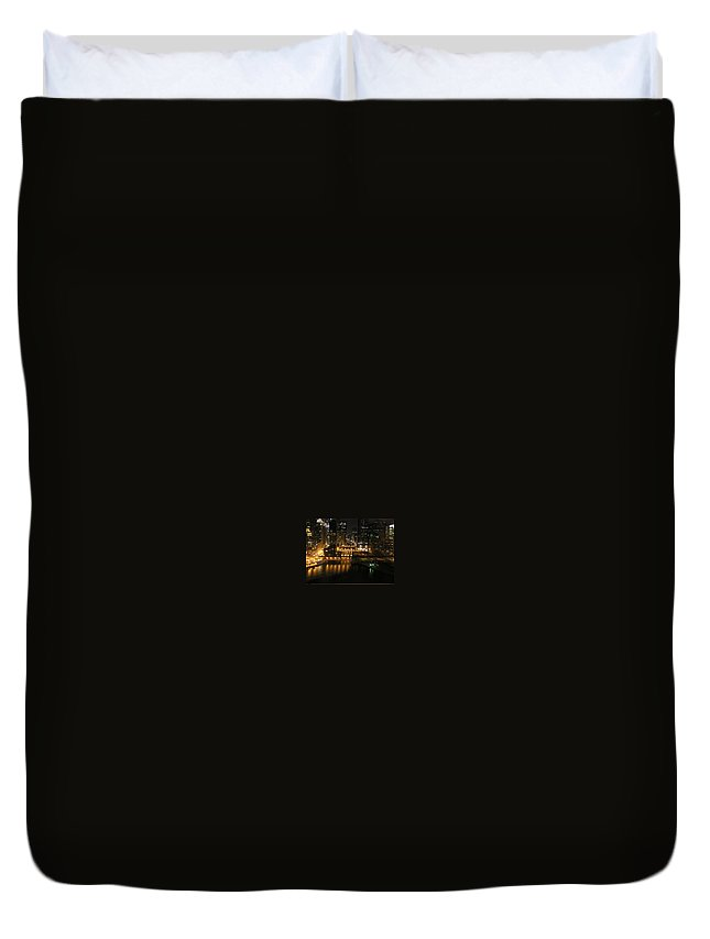 Chicago Duvet Cover featuring the photograph Chicago Night River Scene by Alice Markham