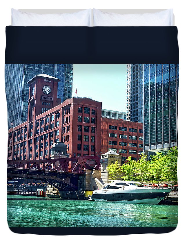 Chicago Duvet Cover featuring the photograph Chicago Parked By The Clark Street Bridge On The River by Thomas Woolworth