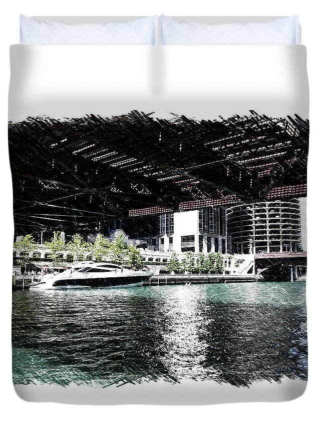Chicago Duvet Cover featuring the photograph Chicago Parked On The River In June 03 Pa 01 by Thomas Woolworth