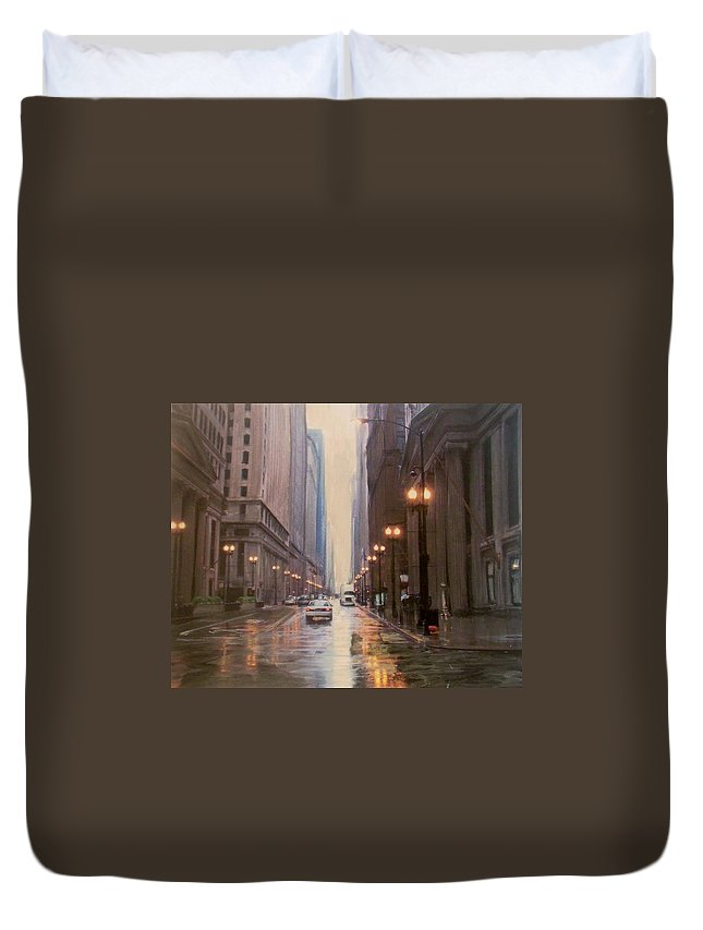 Chicago Duvet Cover featuring the painting Chicago Rainy Street by Anita Burgermeister