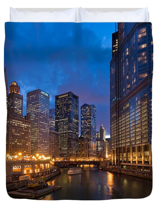 Architecture Duvet Cover featuring the photograph Chicago River Lights by Steve Gadomski