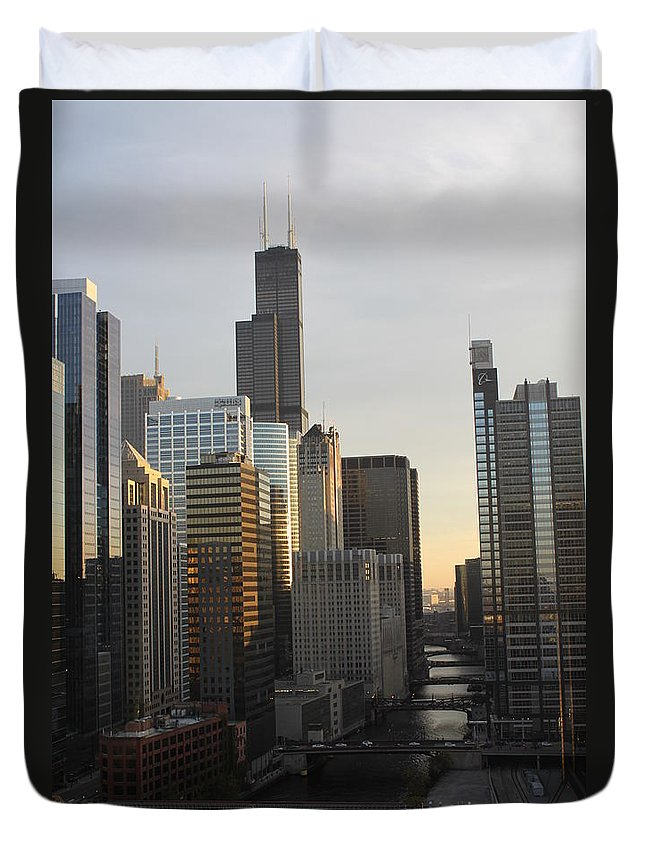 Chicago Duvet Cover featuring the photograph Chicago River View by Lauri Novak