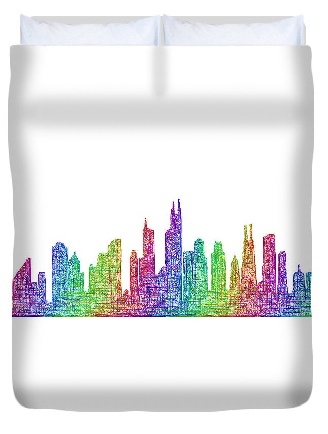 Chicago Duvet Cover featuring the digital art Chicago Skyline by David Zydd