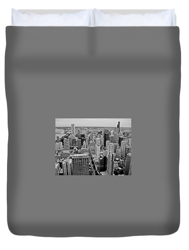 Architecture Duvet Cover featuring the photograph Chicago Skyline Landscape by Dale Chapel