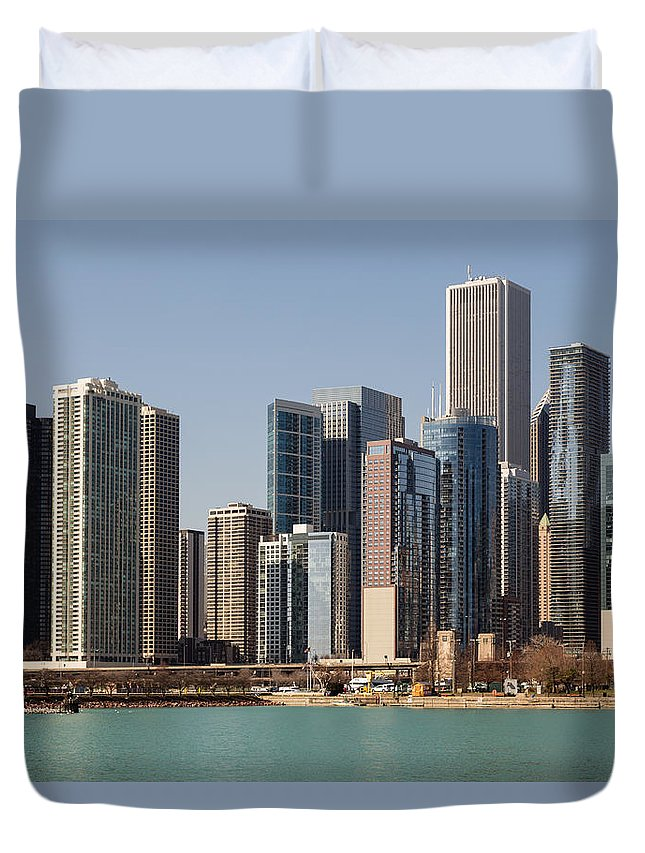 Chicago Duvet Cover featuring the photograph Chicago Skyline by Terri Morris
