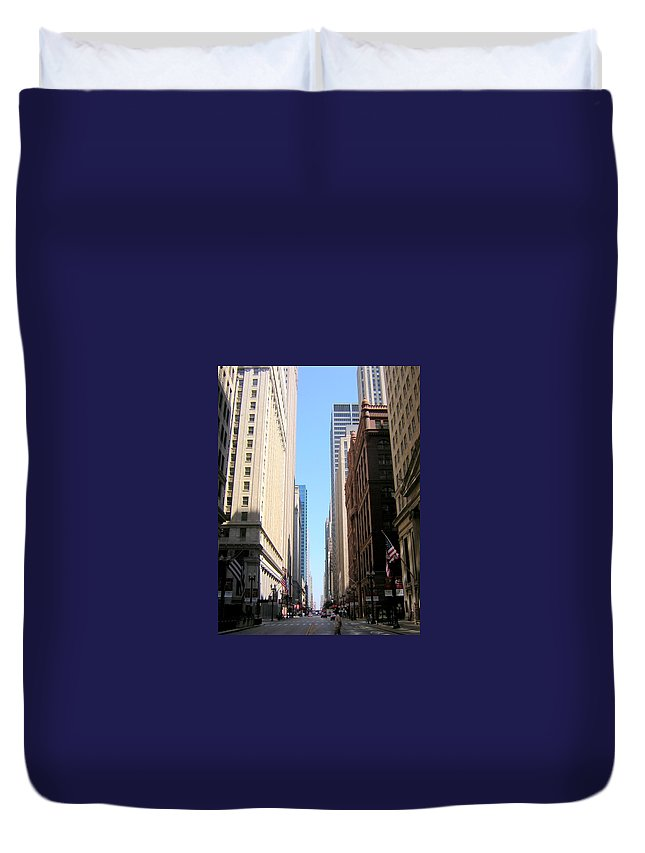 Chicago Duvet Cover featuring the photograph Chicago Street With Flags by Anita Burgermeister