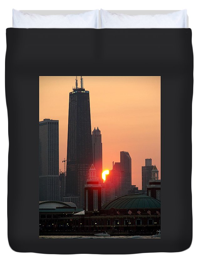 Photography Duvet Cover featuring the photograph Chicago Sunset by Glory Fraulein Wolfe