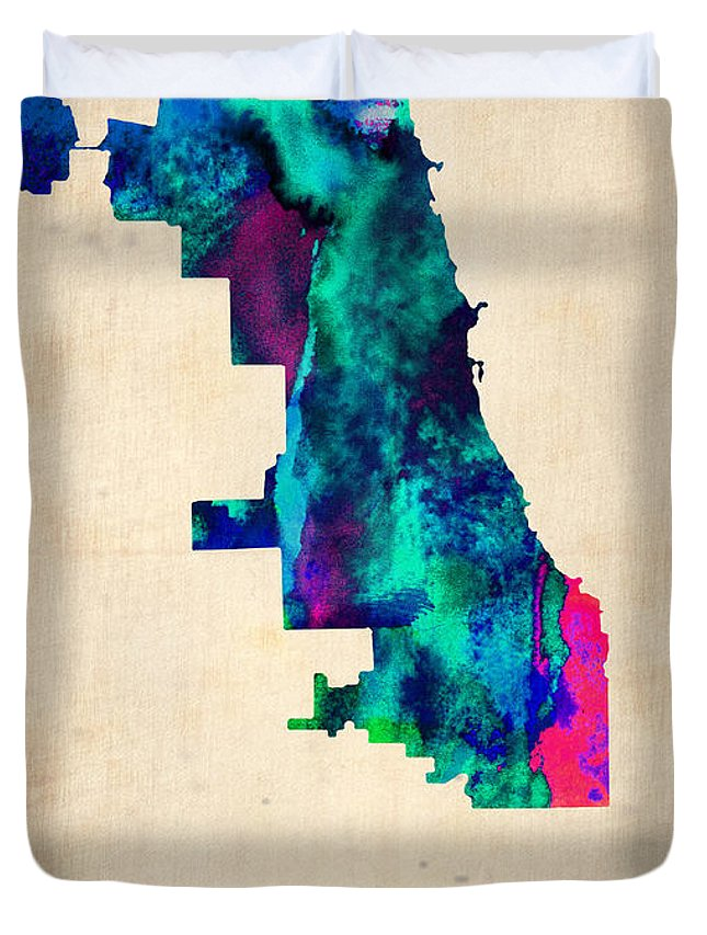 Chicago Duvet Cover featuring the digital art Chicago Watercolor Map by Naxart Studio