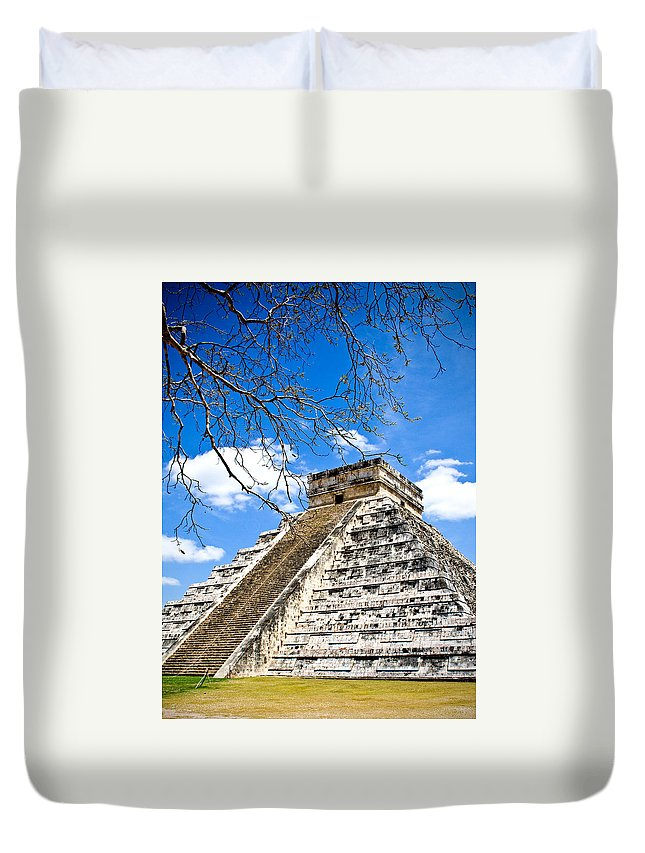 Chichen Itza Duvet Cover featuring the photograph Chichen Itza And Tree by Chris Brannen