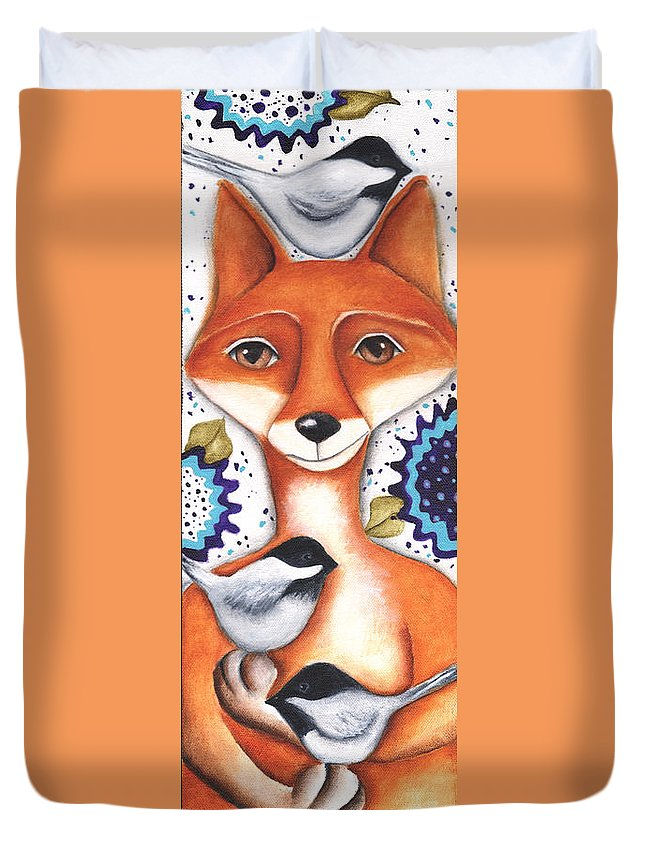 Fox Duvet Cover featuring the painting Chickadee Fox by Deb Harvey
