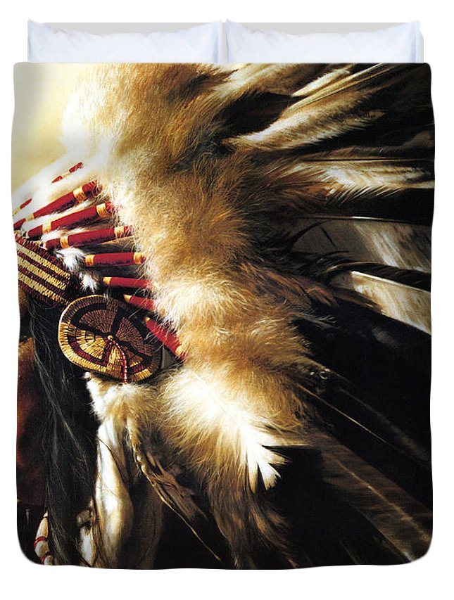 Native American Duvet Cover featuring the painting Chief by Greg Olsen