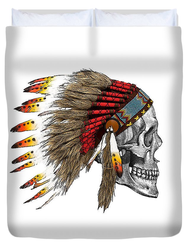 Indian Duvet Cover featuring the digital art Chief headdress on human skull native american art by Madame Memento