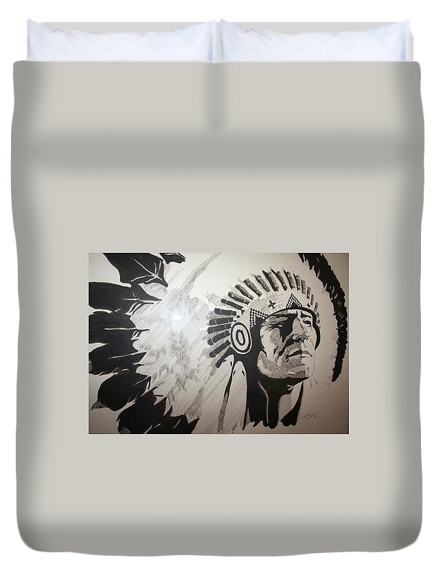 Chief Duvet Cover featuring the drawing Chief by Melissa Wiater Chaney