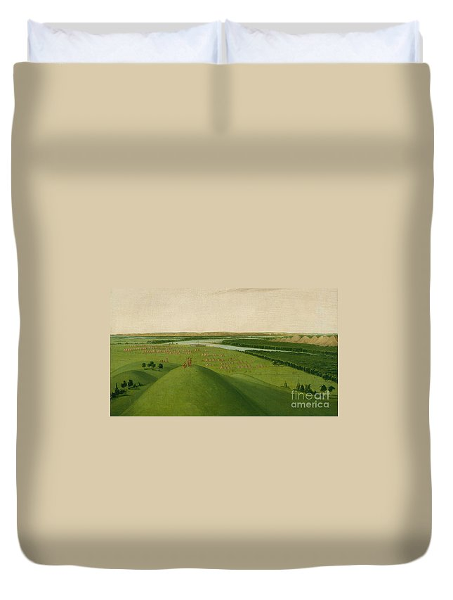 Catlin Sha-c�-pay Duvet Cover featuring the painting Chief Of The Plains Ojibwa by MotionAge Designs