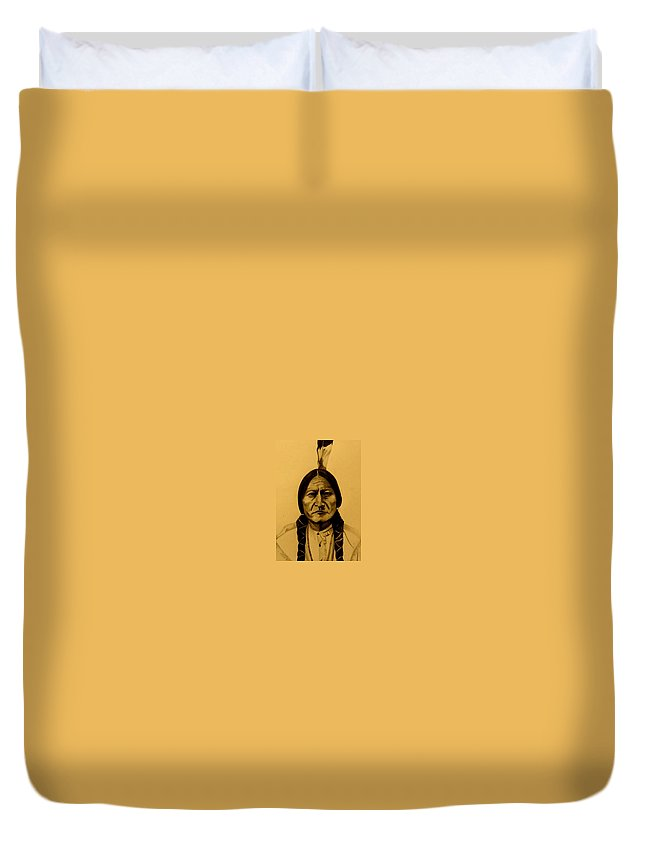 Portrait Duvet Cover featuring the drawing Chief Sitting Bull Tatanka Iyotake by Michelle Dallocchio