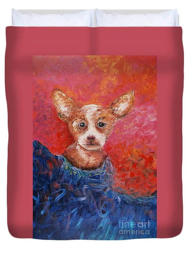 Dog Duvet Cover featuring the painting Chihuahua Blues by Nadine Rippelmeyer