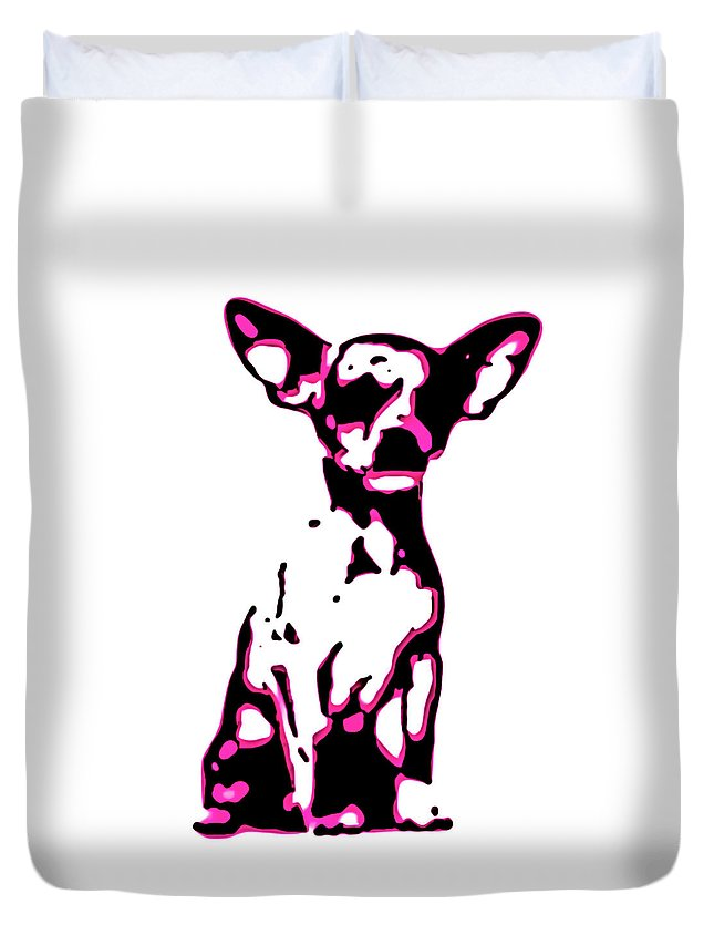 Chihuahua Dog Pink Black White Art Photography Digital Pet Pop Abstract Contemporary Modern Duvet Cover featuring the digital art Chihuahua In Pink by Heather Joyce Morrill