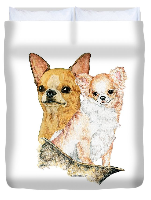 Chihuahua Duvet Cover featuring the drawing Chihuahuas by Kathleen Sepulveda