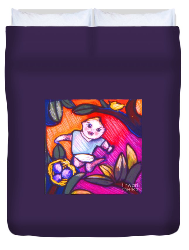 Children Duvet Cover featuring the painting Child Gazing by Angelina Marino
