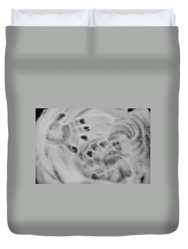 Black And White Duvet Cover featuring the photograph Child Hand Prints by Rob Hans
