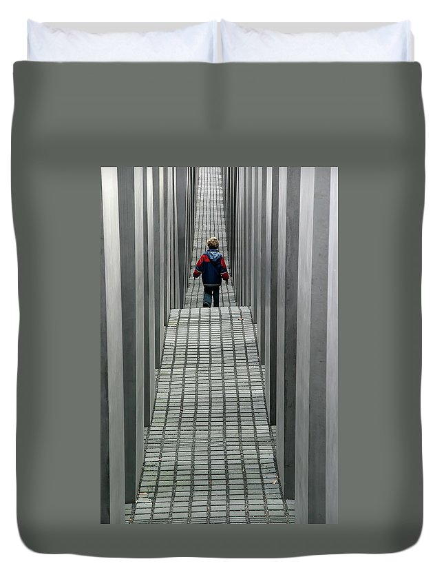 Berlin Duvet Cover featuring the photograph Child In Berlin by KG Thienemann