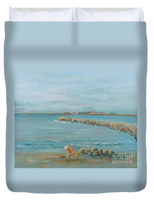 Beach Duvet Cover featuring the painting Child Playing At Provence Beach by Nadine Rippelmeyer