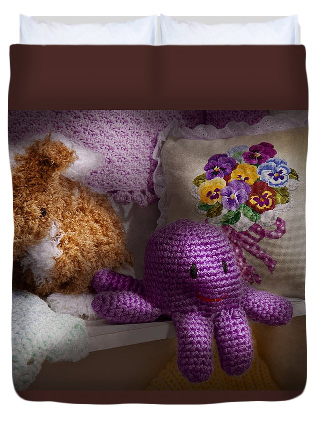 Toy Duvet Cover featuring the photograph Child - Toy - Octopus In My Closet by Mike Savad