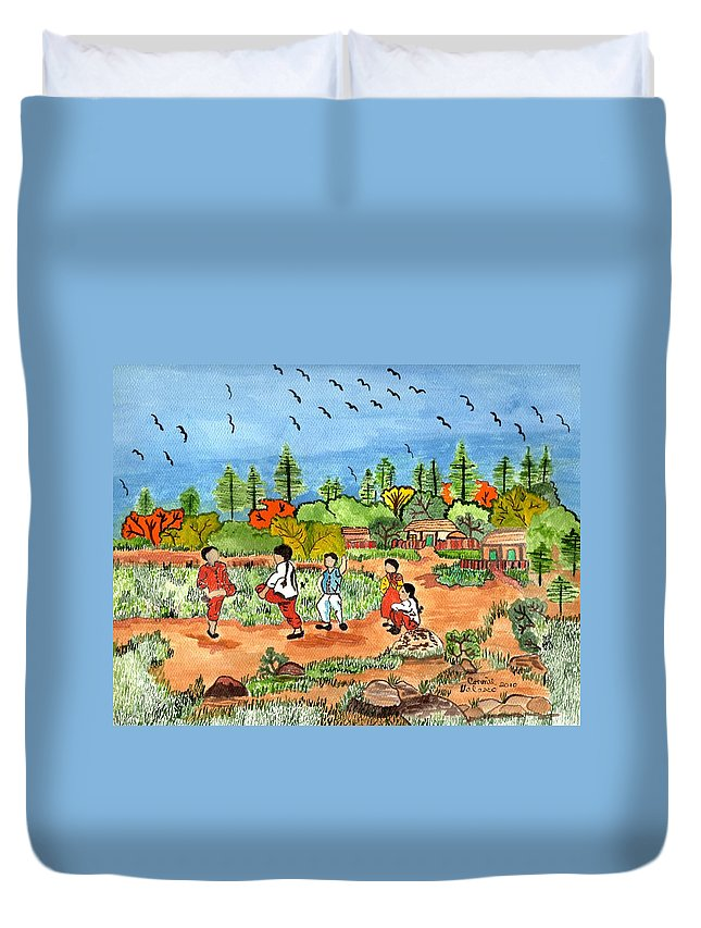 Childern At Play Duvet Cover featuring the painting Childen At Play by Connie Valasco