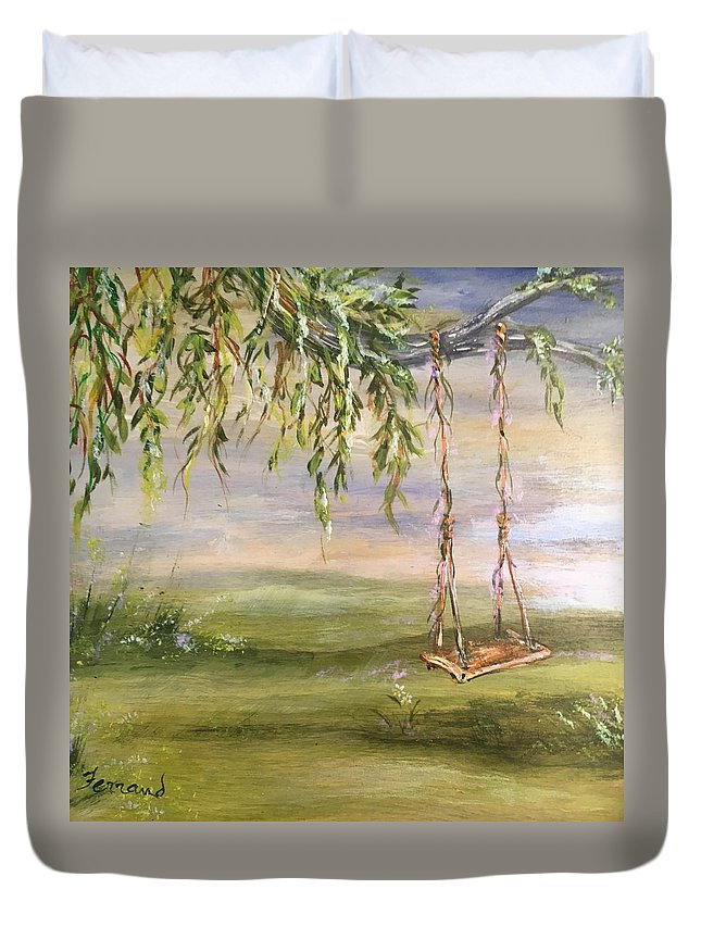 Swing Duvet Cover featuring the painting Childhood Memories by Karen Ferrand Carroll