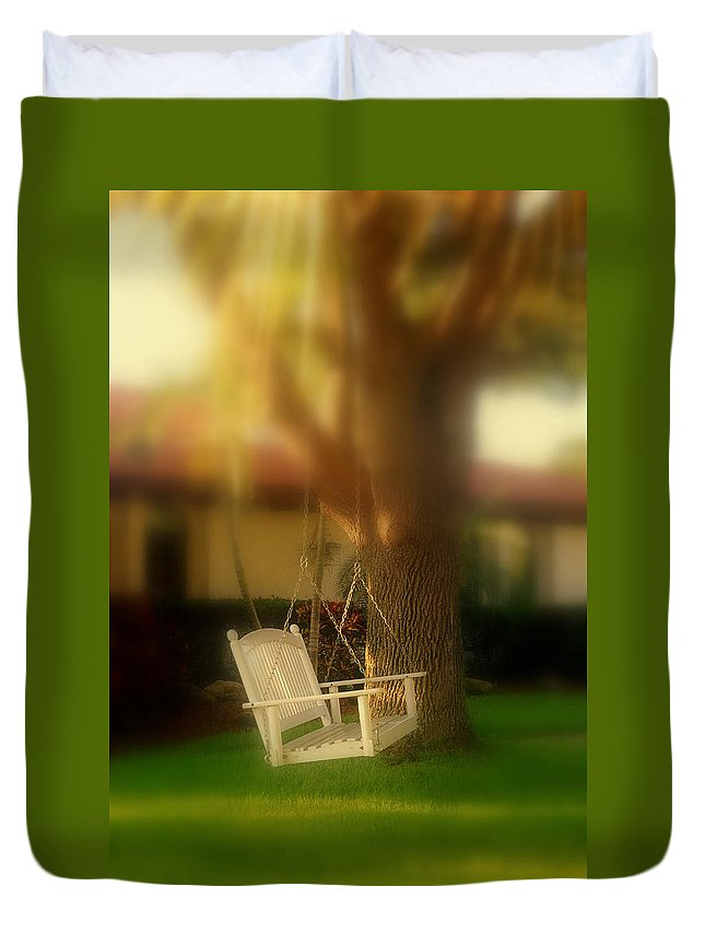 Swing Duvet Cover featuring the photograph Childhood Memories by Susanne Van Hulst
