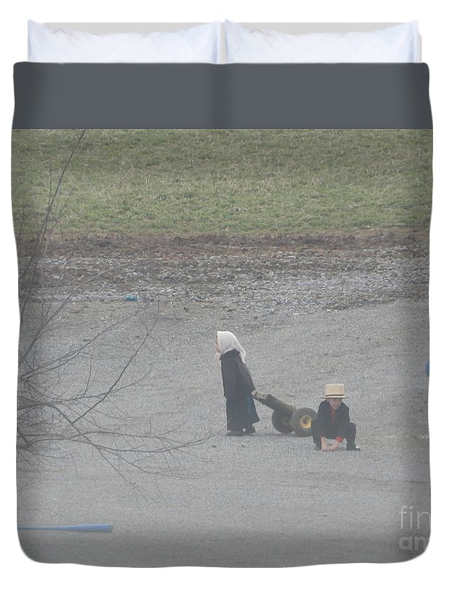 Amish Duvet Cover featuring the photograph Children At Play by Christine Clark