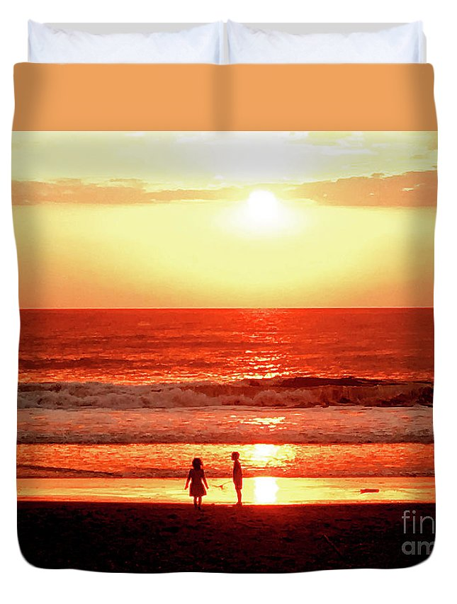 Sunset Duvet Cover featuring the photograph Children by Helge