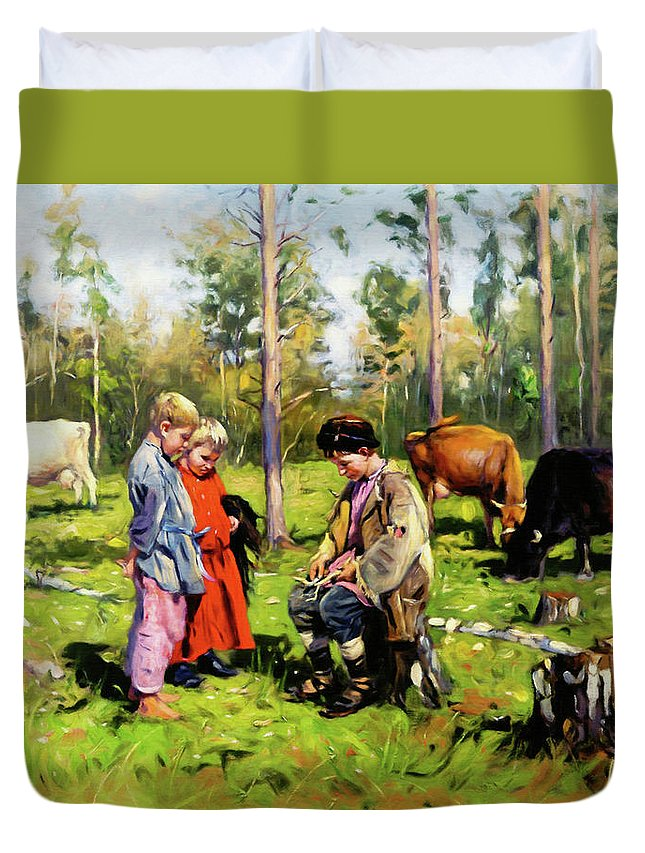 Children Of The Forest Duvet Cover featuring the mixed media Children Of The Forest by Georgiana Romanovna