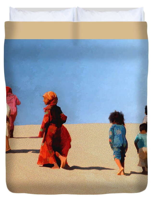 Children Duvet Cover featuring the photograph Children Of The Sinai by Kurt Van Wagner