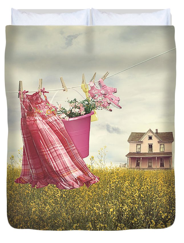 Atmosphere; Atmospheic; Roof; Nobody; Daylight; Deck; Summer; Summertime; Clothes; Clothesline; Dress; Sun Sunny; Afternoon; No People; Sky; House; Flowers; Landscape; Farm; Farmhouse; Canola; Field; Canola Field; August; Yellow; Pink Duvet Cover featuring the photograph Child's Dress And Toys Hanging On Line With Farmhouse In Backgro by Sandra Cunningham