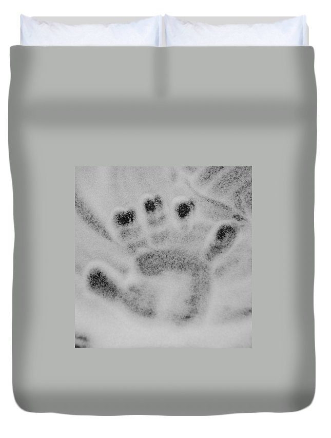 Black And White Duvet Cover featuring the photograph Childs Hand by Rob Hans